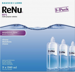 ReNu Multi-Purpose Contact Lens Solution 3 x 240ml - Soft Contact Lenses for Comfortable Wear - Gentle on Sensitive Eyes - Clean,Disinfect,Rinse,Lubricate and Store your Lenses - Lens Case Included
