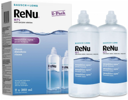 ReNu Multi-Purpose Contact Lens Solution, 2 x 360ml   Soft Contact Lenses for Comfortable Wear   Gentle on Sensitive Eyes   Clean, Disinfect, Rinse and Store your Lenses   Lens Case Included
