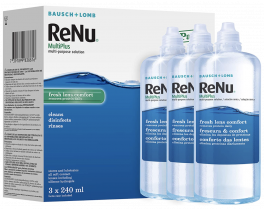 ReNu MultiPlus Multi-Purpose Contact Lens Solution, 3 x 240ml   For Soft Contact Lenses   Moisturise, Remove Protein, Clean, Disinfect, Lubricate, Rinse and Store your Lenses   Lens Case Included